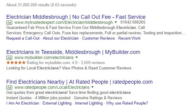 Google adwords snippet